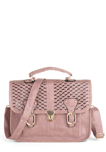 Tilde is Done Bag - Pink, Solid, Buckles, Cutout, Scholastic/Collegiate, Faux Leather