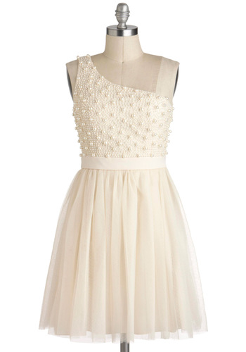 Sugar Pearls Dress - Cream, Wedding, One Shoulder, Mid-length, Pearls, Ballerina / Tutu, Solid, Prom, Bride