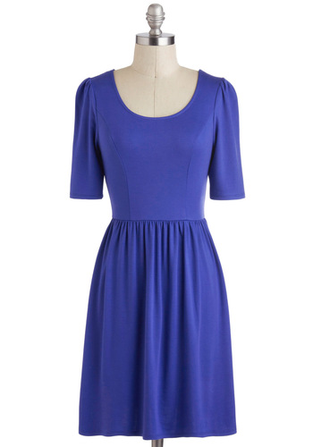 Pick of the Licorice Dress in Blueberry - Mid-length, Blue, Solid, Casual, Minimal, A-line, Short Sleeves, Variation, Scoop