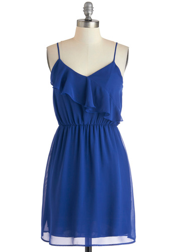 Frock Solid Dress - Mid-length, Blue, Solid, Ruffles, Casual, A-line, Spaghetti Straps, V Neck