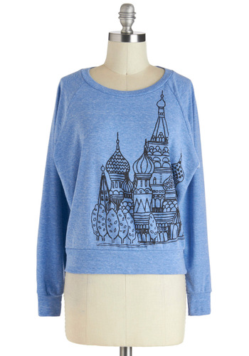 One Cool Cathedral Top - Short, Blue, Black, Solid, Casual, Long Sleeve, Novelty Print