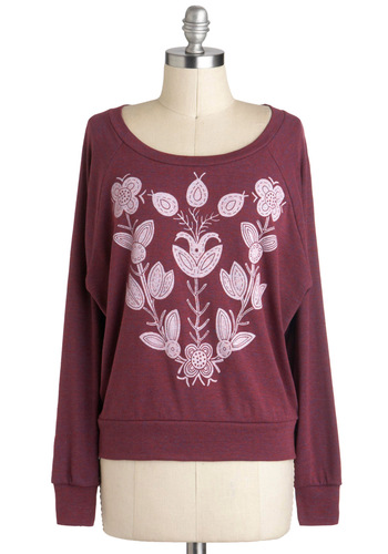 Flora-dorable Top - Mid-length, Red, White, Casual, Long Sleeve, Travel
