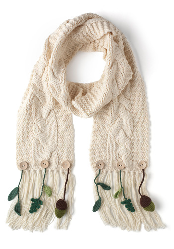 Under the Oaks Scarf by Disaster Designs - Cream, Solid, Flower, Fringed, Knitted, International Designer