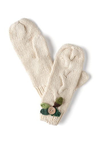 Under the Oaks Mittens by Disaster Designs - Cream, Solid, Flower, Knitted, International Designer