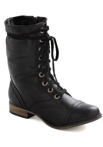 I Finally Found You Boot in Black - Black, Solid, Military, Lace Up, Low, 90s, Variation
