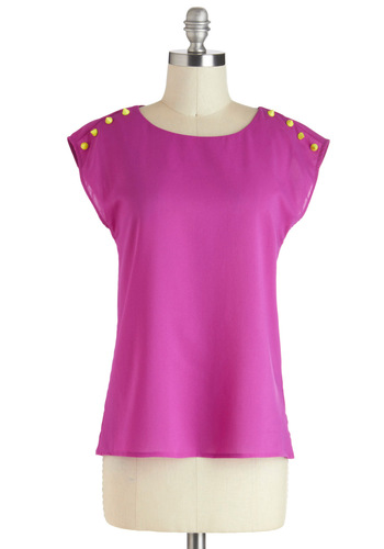 Bright Spikes, Big City Top - Mid-length, Pink, Solid, Studs, Casual, Neon, Cap Sleeves