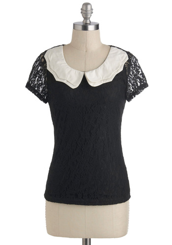 Wednesday I'm in Love Top - Sheer, Mid-length, Black, White, Solid, Lace, Peter Pan Collar, Work, Vintage Inspired, Short Sleeves, Scoop, Black, Short Sleeve, Lace