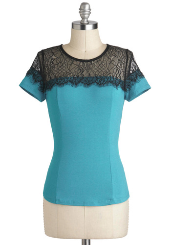 Bright Teal Right Now Top - Mid-length, Blue, Black, Solid, Lace, Work, Short Sleeves, Sheer