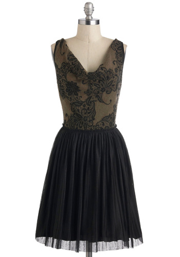 Olive Happily Ever After Dress - Mid-length, Black, Green, Lace, Pleats, Cocktail, Vintage Inspired, A-line, Sleeveless, Luxe