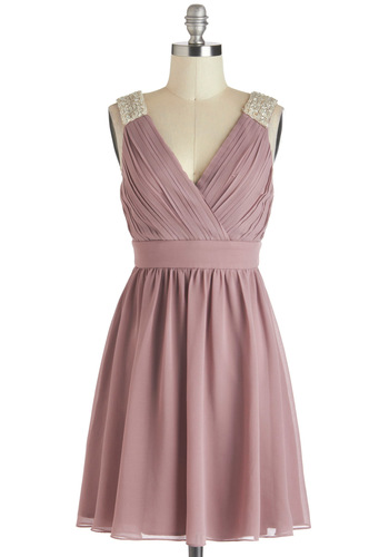 A Mauve-elous Occasion Dress - Purple, Silver, Solid, Beads, Pleats, Wedding, Party, Empire, Sleeveless, Short, V Neck, Pastel, Formal, Prom, Bridesmaid