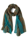 Bohemian Wrap-sody Scarf - Blue, Yellow, Print, Travel, Winter