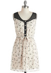 Girl's Best Frock - Cream, Black, Novelty Print, Buttons, Casual, A-line, V Neck, Sheer, Short, Sleeveless, Belted