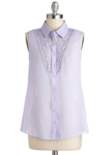 Violets Stick Together Top - Sheer, Mid-length, Purple, Solid, Buttons, Crochet, Daytime Party, Sleeveless, Collared, Casual, French / Victorian, Summer