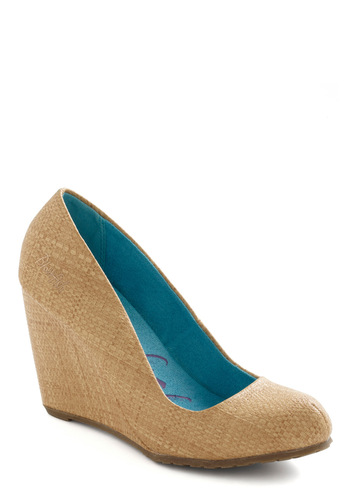 After School Speckled Wedge in Sand - Tan, Solid, Woven, Mid, Wedge