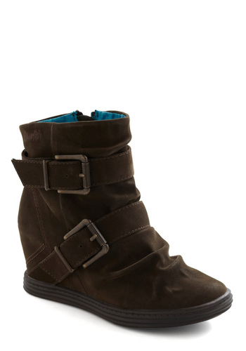 Roastery Visit Bootie - Brown, Solid, Buckles, Wedge, Mid, Urban