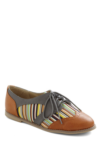 Candlepin Cutie Flat - Tan, Multi, Stripes, Cutout, Menswear Inspired, Lace Up, Flat