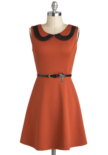 The Time Has Kumquat Dress - Black, Solid, Peter Pan Collar, Belted, Casual, A-line, Sleeveless, Collared, Short, Vintage Inspired, Orange