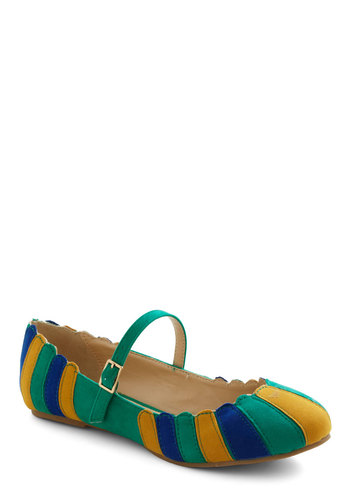 Umbrella Statement Flat in Green - Green, Multi, Stripes, Scallops, Mary Jane, Colorblocking, Flat, Variation