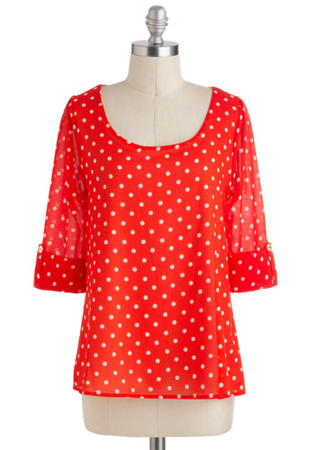 Daily Lunch Date Top in Red - Mid-length, Red, White, Polka Dots, Casual, 3/4 Sleeve, Vintage Inspired, Scoop, Red, Tab Sleeve