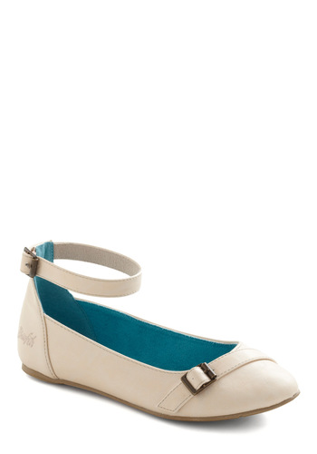 As Almond as Not Flat - Cream, Solid, Buckles, Flat, Casual, Vintage Inspired, Graduation