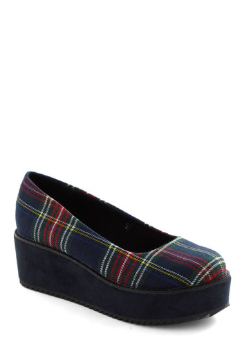 Plaid-form Shoe - Blue, Multi, Plaid, Vintage Inspired, 90s, Wedge