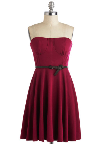 Party Hop, Skip, and a Jump Dress - Short, Pink, Solid, Pockets, Belted, A-line, Strapless, Casual, Minimal