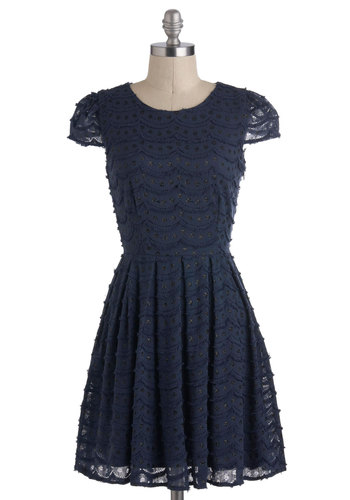 Cast Party Hopping Dress - Mid-length, Blue, Solid, Cutout, Lace, Scallops, Party, Holiday Party, A-line, Cap Sleeves, Vintage Inspired