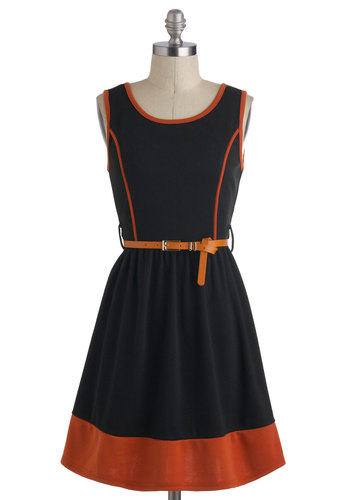Anise and Orange Dress - Mid-length, Black, Orange, Exposed zipper, Belted, Work, Casual, Vintage Inspired, A-line, Sleeveless, Trim