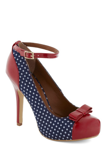 Blue Ribbon Romance Heel - High, Red, Blue, White, Polka Dots, Bows, Buckles, Party, Pinup, Vintage Inspired