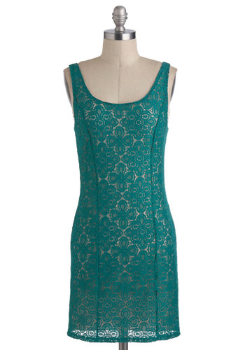 Home Sweet Hacienda Dress - Short, Green, Lace, Party, Casual, Bodycon / Bandage, Sleeveless, Urban