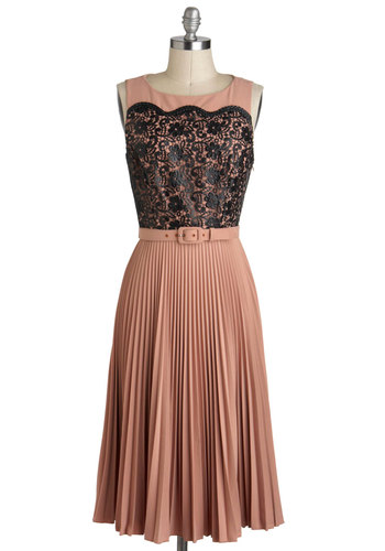 Have Your Teacake Dress by Eva Franco - Black, Lace, Pleats, Sleeveless, Belted, Tan, Cocktail, Film Noir, Vintage Inspired, Luxe, Long