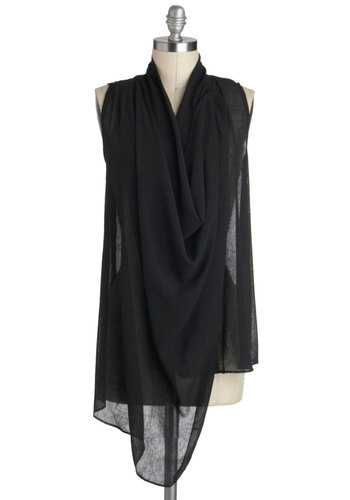 Life's Drape Mysteries Top - Black, Solid, Sleeveless, Mid-length, Sheer, Party, Cocktail, Girls Night Out