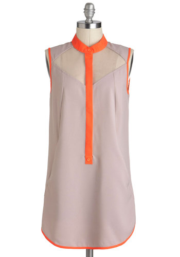 Bike to Work Tunic - Tan, Orange, Buttons, Pockets, Sleeveless, Long, Sheer, Casual