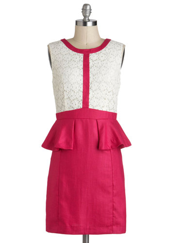 Host Likely to Succeed Dress - Mid-length, Pink, White, Cutout, Lace, Work, Daytime Party, Colorblocking, Sheath / Shift, Peplum, Sleeveless