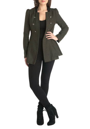 I Commodore You Coat - Green, Solid, Buttons, Long Sleeve, Mid-length, 2, Casual, Military, Fall