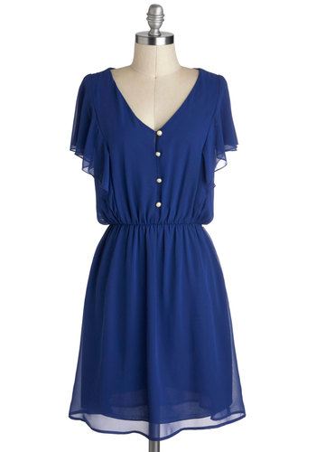 Tanzanite as Well Dress - Blue, Solid, Buttons, Ruffles, Casual, A-line, Cap Sleeves, V Neck, Mid-length, Daytime Party