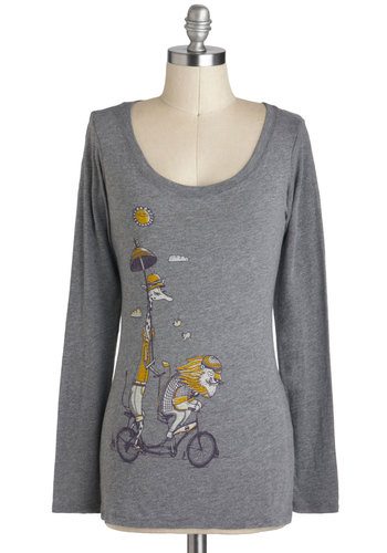 Bicycle Built for Zoo Top - Cotton, Mid-length, Grey, Yellow, Purple, Print with Animals, Casual, Quirky, Scoop, Travel, Long Sleeve