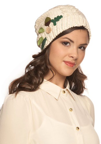 Under the Oaks Hat - Cream, Solid, Flower, Knitted, International Designer