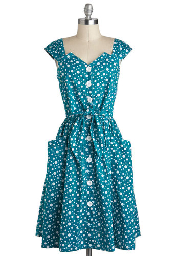 Isn't She Bubbly Dress - Buttons, Cotton, Long, Blue, White, Polka Dots, Pockets, Belted, Casual, A-line, Cap Sleeves, Vintage Inspired, 50s, Spring
