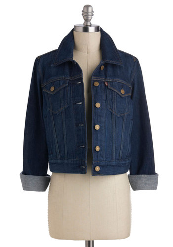 Whirlwind Tour Jacket by Levi's - Blue, Solid, Buttons, Pockets, Long Sleeve, Denim, 1, Cotton, Short, Beach/Resort
