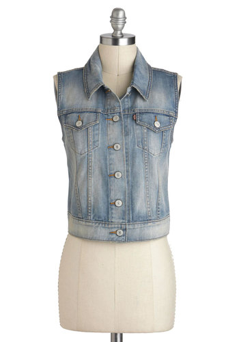 Life in the Bike Lane Vest by Levi's - Blue, Solid, Buttons, Pockets, Sleeveless, Denim, Cotton, Short