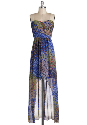 Aviary Gala Dress by Max and Cleo - Multi, Green, Blue, Brown, Black, Party, High-Low Hem, Print, Chiffon, Sheer, Short, Strapless, Sweetheart, Wedding, Luxe, Prom, Bridesmaid, Maxi