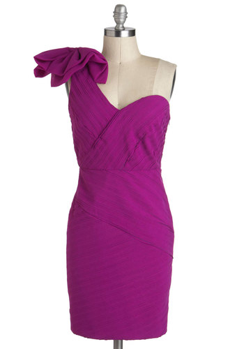 Saved by the Bow Dress - Purple, Solid, Bows, Party, Shift, One Shoulder, Short, Statement, Cocktail, Sweetheart, Special Occasion, Prom