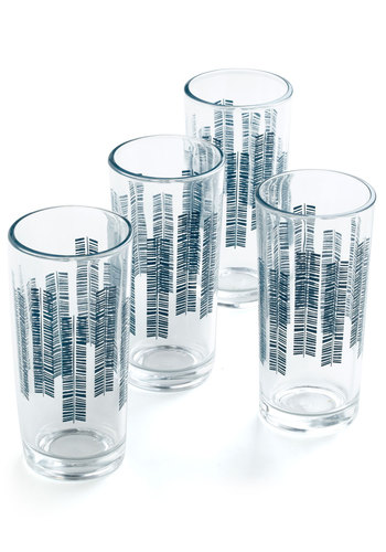 Feather or Schnapps Glass Set - Blue, Print