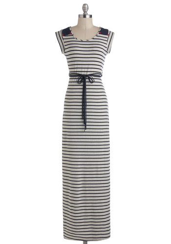 Longshore Drifter Dress - Blue, Grey, Stripes, Cutout, Belted, Casual, Nautical, Maxi, Jersey, Long, Cap Sleeves