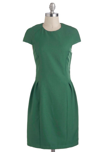 Just Your Lucky Dress - Mid-length, Green, Solid, Cutout, Pleats, Work, Minimal, Shift, Cap Sleeves, Party, Holiday Party, Vintage Inspired