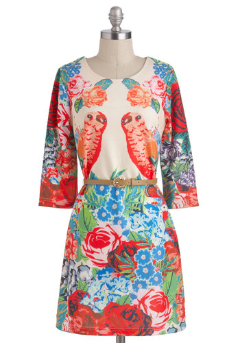 Search for a Perch Dress - Print with Animals, Mid-length, Multi, Red, Green, Blue, Tan / Cream, Belted, Casual, Daytime Party, Sheath / Shift, 3/4 Sleeve, Floral, Beach/Resort