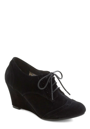 Debonair Current Wedge - Black, Solid, Wedge, Lace Up, Mid