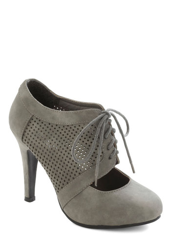 All Out on the Town Heel in Grey - Grey, Solid, Cutout, Lace Up, High, French / Victorian, Variation, Winter, Top Rated