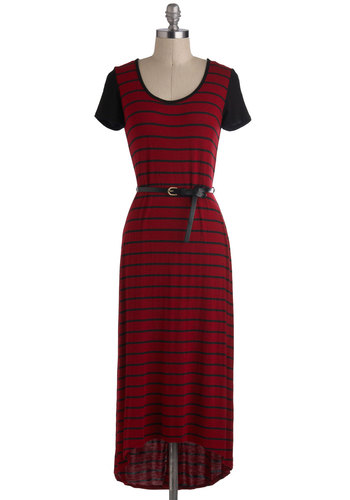 First Friday Dress - Jersey, Long, Red, Black, Stripes, Belted, Casual, Short Sleeves, Maxi, Scoop